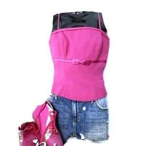 B2 Pink Zipper Bow Bustier crop Top